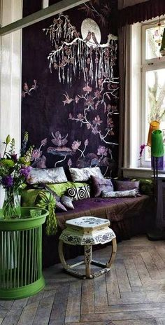 Last Trending Get all images asian home decor ideas Viral modern asian decor Monochromatic Room, Japanese Wall, Asian Home Decor, Wall Decor, Room Decor, Chinoiserie Chic, Of Wallpaper, Purple Wallpaper, My New Room