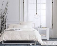 Simple white bedroom.