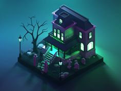 Weekly Design Inspiration #276. via Muzli design inspiration | by Eyal Zuri | Oct, 2020 | Muzli - Design Inspiration Modelos Low Poly, Modelos 3d, Isometric Art, Isometric Design, Cube World, Wave Illustration, House Games, Model House Plan, Fantasy Places