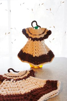 brown and cream crochet dish soap covers dress replica by gleaned
