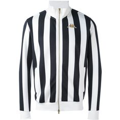 Kappa stripe zipped jacket (190 AUD) ❤ liked on Polyvore featuring men's fashion, men's clothing, men's outerwear, men's jackets, white, mens striped jacket, mens zipper jacket, mens zip jacket and mens white jacket