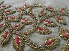 A Short Gold Guide For gold bullion bars Bullion Embroidery, Zardosi Embroidery, Hand Embroidery Dress, Couture Embroidery, Gold Embroidery, Embroidery Fashion, Border Embroidery Designs, Bead Embroidery Patterns, Hand Work Design