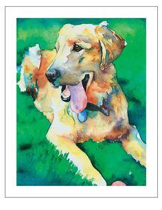 $15.00 + shipping / Yellow Labrador Golden Retriever -  Dog Pet Portrait fine art watercolor print