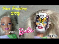How to Make Barbie Face Painting Butterfly Face with Glitter.  Paint It ...