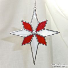 RED STAR in Stained Glass, Christmas Tree Ornament, Gift. $16.00, via Etsy.