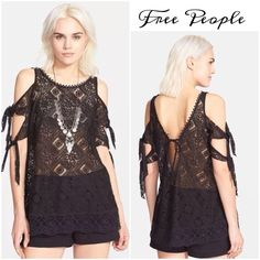 🌟HP🌟FP gorgeous open shoulder Top Beautiful cotton lace tunic features tied open sleeves and deep back with self- tie, scallop edging, wear over a cami with skinny pants Free People Tops Tunics
