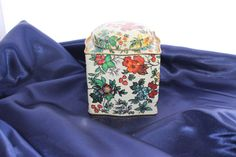 Vintage Multi-Colored Flower Decorative Tin Made by TwoCatsVintage