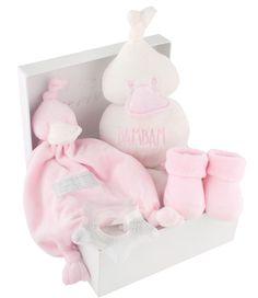 Geschenkbox Ente rosa - BAMBAM - Inhalt: Plüschtier, Strümpfe, Schmusetuch, Beißring  - Farbe: rosa