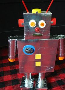 Cardboard robot for preschoolers   Recycled robot craft