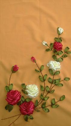 Wonderful Ribbon Embroidery Flowers by Hand Ideas. Enchanting Ribbon Embroidery Flowers by Hand Ideas. Ribbon Embroidery Tutorial, Silk Ribbon Embroidery, Embroidery Kits, Embroidery Stitches, Hand Embroidery Patterns, Embroidery Designs, Embroidery Supplies, Ribbon Art, Ribbon Crafts
