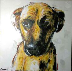 M.Chien, acrylique sur toile, 24X24X3 po, par Em Lacrylic.