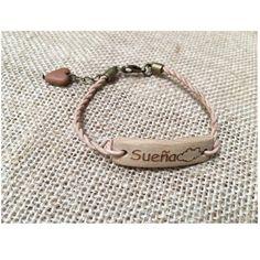 Pulsera madera de almendro y cuero, pulsera con mensaje, regalo mujer, pulsera natural, pulsera de madera, pulsera de cuero, pulsera ideal