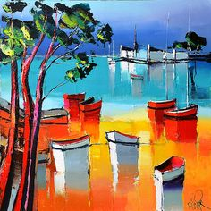 painting by Eric Le Pape (La plage des 3 pins) Eric Le Pape, Abstract Format, Coastal Art, Small Boats, Acrylic Painting Canvas, Artsy Fartsy, Ocean, India Jewelry, Cherry Blossoms