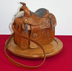 Vtg NWOT Western Saddle Purse Handbag Leather Horse Tooling Tan Strap Bag