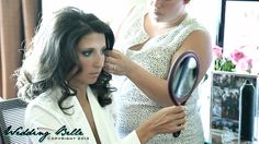 Gorgeous bride getting her hair done the morning of