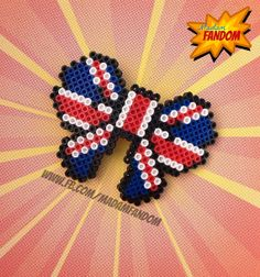 Your place to buy and sell all things handmade Fuse Beads, Perler Beads, Bead Crafts, Diy Crafts, Hama Beads Design, Perler Patterns, Bowties, Union Jack, Deco