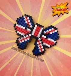 BRITISH FLAG Hair Bow Barrette (Perler Beads)