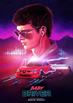illustrated poster for Edgar Wright's new film 'Baby Driver'
