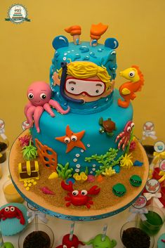 Home Improvement Ideas Ocean Birthday Cakes, Ocean Cakes, Beach Cakes, Pool Party Cakes, Summer Cakes, Cute Cakes, Creative Cakes, Cake Creations, Themed Cakes