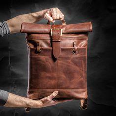 Lederen rugzak Roll top rugzak door Kruk Garage gemaakt van