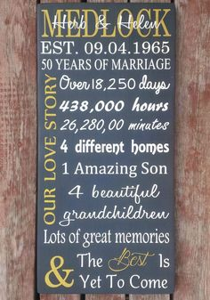 Custom Handcrafted 50th Anniversary Wood Sign   This is a beautiful reminder of how many days, hours, minutes the couple has been together,