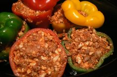 Crock Pot Sausage Stuffed Peppers - family-style comfort food for Use… Paleo Recipes Easy, Crockpot Recipes, Real Food Recipes, Paleo Meals, Paleo Food, Entree Recipes, Diet Recipes, Paleo Stuffed Peppers, Sausage And Peppers