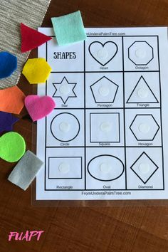 Shape Recognition Activity < From Under a Palm Tree Use this free printable and colorful felt shapes to design your own Shape Recognition Activity for your preschooler. Preschool Learning Activities, Infant Activities, Preschool Activities, Preschool Shapes, Shape Activities For Preschoolers, Toddler Activities For Daycare, Activities For 3 Year Olds, Toddler Color Learning, Educational Activities For Preschoolers