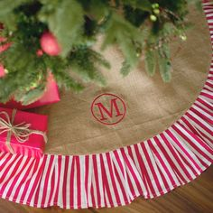 Monogrammed Burlap Christmas Tree Skirt with Red Striped Ruffle   subtlysouthern.com