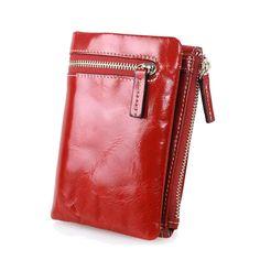 Vintage women Genuine Leather wallet short pattern wallet small zipper women leather purse female wallet brand coin purse