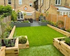 backyard design ideas garden sleepers raised garden beds ideas garden edging - All For Garden Terrace Garden Design, Back Garden Design, Modern Garden Design, Landscape Design, Patio Design, Rectangle Garden Design, Simple Garden Designs, Modern Design, Courtyard Design