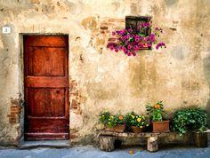 Old Door Pienza Italy Door With Flowers by PaulMontecalvoPhoto Rustic Doors, Wooden Doors, Mediterranean Paintings, Italian Doors, Brown Doors, Patio Wall, Rock Painting Designs, Painted Doors, Fine Art Photography