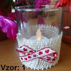Svietnik sklenený s mašľou - Sviečka - S čajovou sviečkou LED (plus 1€), Vzor - Vzor 1