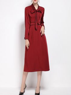 Red Bowknot Split Shift Dress -SheIn(abaday) Casual Day Dresses 6f218b493