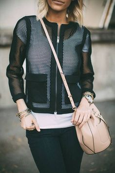 Black Mesh Jacket Streetstyle by Styled Avenue Mesh Jacket, Blazer Jacket, Fashion Outfits, Womens Fashion, Fashion Trends, Fashion Tips, Winter Stil, Sport Chic, Look Chic
