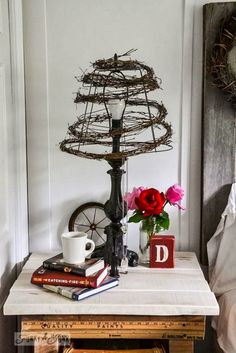The wire of a large light shade is used as the base for a coffee a quirky twiggy wire lampshade in seconds crafts repurposing upcycling loving quirk this wire twiggy lampshade became a cool and unusually way to morph a greentooth Choice Image