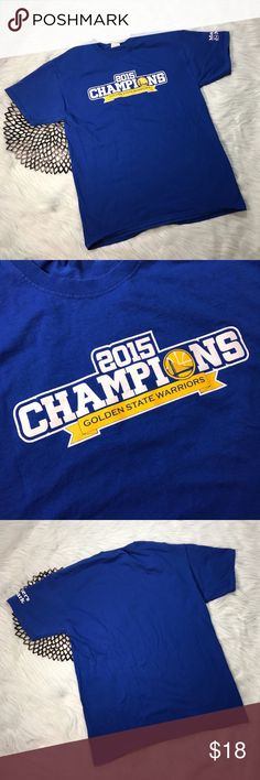 Golden State Warriors 2015 Champions T-Shirt Golden State Warriors 2015 Champions Fruit of the Loom T-Shirt. Size large. Made of 100% cotton. Pre-owned, but in excellent used condition. No holes, stains or pilling. Measurements: Underarm to underarm is 20 inches. Length is 29 inches. Fruit of the Loom Tops Tees - Short Sleeve