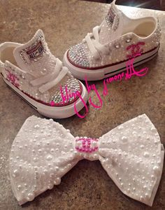 4c2191084dfc5 Pearl Chanel Converse with Matching Hair Bow. Etsy. Baby Girl ConverseKids  ...