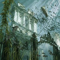 The images depict imaginary scenes in London in 2090, when rising sea levels have inundated the city.