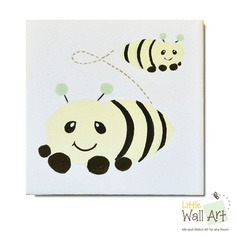"""5""""x5"""" canvas busy bees. 1-1/2"""" soft yellow profile"""