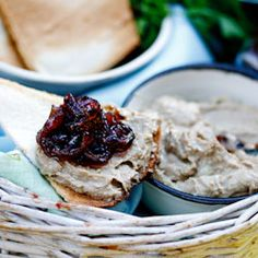 Chicken liver Pâté with caramelised onions and easy melba toast.  Use Mediterranean Delicacies store bought Liver Pate.