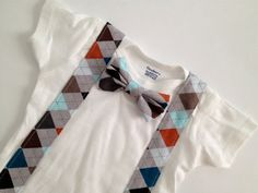 Onsie Baby Boy Bow Tie and Suspenders Argyle by Lilbeautique, $25.00