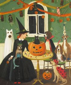 Miss Moon Was A Dog Governess.  Lesson Ten  by janethillstudio, $26.00