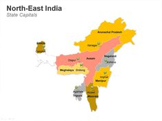 Editable PowerPoint Map: North-East India Map