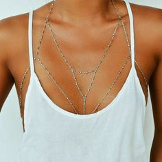 body chain + white tank #nastygal
