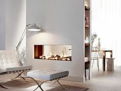 Contemporary double-sided fireplace (gas closed hearth) Lucius 140 T B. - - Contemporary double-sided fireplace (gas closed hearth) Lucius 140 T B…. Divider Design, Foyer Design, Küchen Design, Home Fireplace, Modern Fireplace, Living Room With Fireplace, Farmhouse Living Room Furniture, Farmhouse Interior, Living Room Interior
