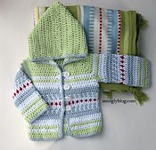 This sweater is definitely for boys. And for girls! It's all in the colors. The pattern was inspired by a blanket I saw at a Swedish furnishings store over the summer – it was bold and graphic and had a great look. One that begged to be translated to crochet!