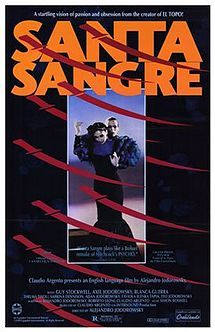 """Santa Sangre (""""Holy Blood"""") is a 1989 Mexican-Italian avant-garde thriller film directed by Alejandro Jodorowsky and written by Jodorowsky a. Halloween Horror Movies, Best Horror Movies, Horror Movie Posters, Cinema Posters, Horror Films, Film Posters, Haute Tension, Image Film, Movie Marathon"""