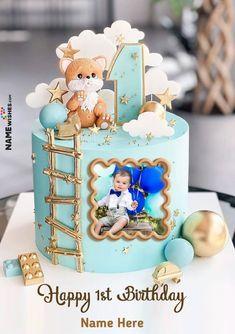Baby Birthday Wishes, Birthday Cake Write Name, Boys First Birthday Cake, Happy Birthday Boy, Make Birthday Cake, Birthday Cake With Photo, Baby Boy Cakes, Themed Birthday Cakes, Happy 1st Birthdays
