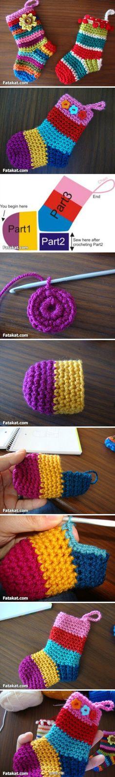 diy-crochet-baby-stocking Baby Stocking, Crochet Stocking, Crochet Borders, Crochet Stitches, Crochet Patterns, Crochet Designs, Cute Crochet, Crochet For Kids, Crochet Crafts