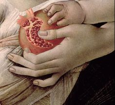 "Sandro Botticelli "" The Madonna and the Nino with Angeles "" ( A very interesting and,should I say,an unexpected detail : a Pomegranate ! Giorgio Vasari, Italian Renaissance, Renaissance Art, Michelangelo, Renaissance Paintings, Italian Painters, Madonna And Child, Detail Art, Renaissance"